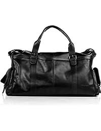 FEYNSINN® grand sac de voyage PHOENIX - grand XL fourre-tout besace week-end - sac sport bagages cabine à main homme femme châtain clair cuir