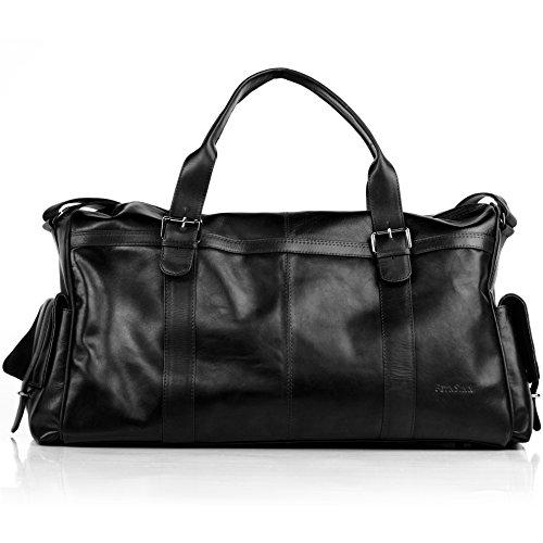 FEYNSINN Reisetasche Leder Ashton XL groß Sporttasche groß Herren Weekender echte Ledertasche Herrentasche 60 cm schwarz