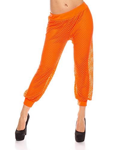 (Crazy Age Frauen Partytop Sommertop Fasching Fest Karneval Halloween Netzoberteil aktueller Trend in Neonfarben Sommerfarben Cool Sexy Tops Damenoberteile (S/M, Orange(895)))