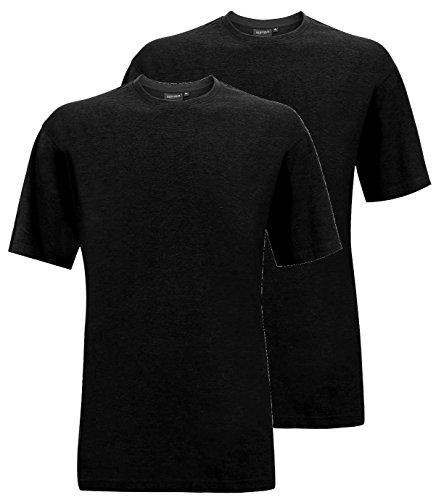 Redfield T-Shirt Doppelpack Rundhals XL - 10XL schwarz, blau, weiß, grau melange, grau anthrazit Schwarz