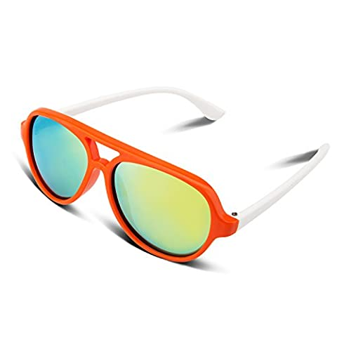 RIVBOS RBK004 Rubber Flexible Kids Polarized Sunglasses Age 3-10 (Orange Coating Lens)