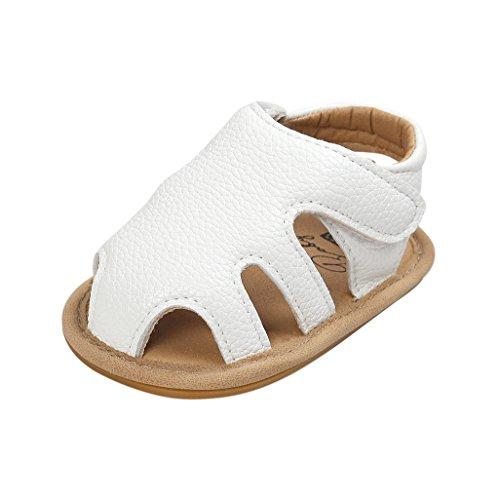 Auxma Baby Mädchen arbeiten Sommer Schuhe Sandalen für 3-6 6-12 12-18 Monat (12-18 M, Weiß)
