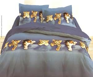 Parure de lit double housse de couette animal chatons chat - Parure de lit om 2 personnes ...