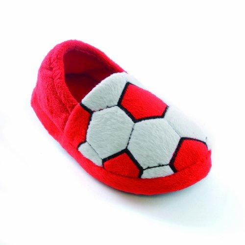 Kinder Jungen Fußball-Hausschuhe (EUR 32-33) (Rot)
