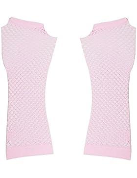 Sourcingmap  - Par rosa claro de rejilla elástica codo sin dedos calentadores de brazo goth para dama