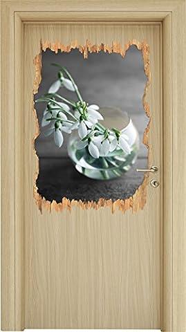 Schneeglöckchen in der Vase Schwarz/Weiß Holzdurchbruch im 3D-Look , Wand- oder Türaufkleber Format: 92x62cm, Wandsticker, Wandtattoo, Wanddekoration