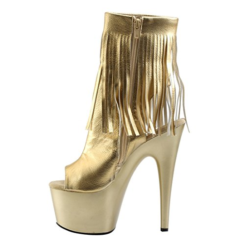 Pleaser Damen Adore 1018 Stiefel Gold Metallic Pu/Gold Matte