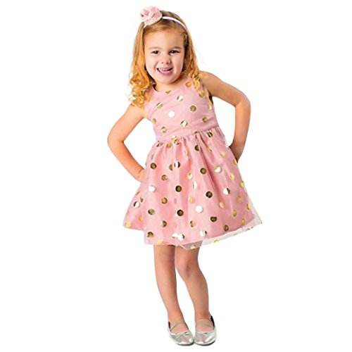 squarex Lovely Baby Mädchen Infant blancho Dot Tutu Zip ärmellose Kleidung Prinzessin Kleid, Kinder, rose, 18-24 Monate  (Junioren Dot)