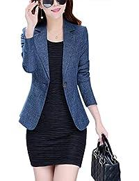 2e64b99876ff4e Battercake Damen Blazer Frühling Herbst Einfarbig Business Casual Frauen  Anzugjacke Vintage Elegant Anzug Langarm Revers Mit…