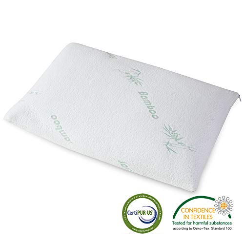 Manope - Shredded Memory-Schaum-Kissen/Kopfkissen - Memory Foam Kissen - Regulierbares Loft - Anti-Allergiker und hoch hygienische Bambus Abdeckung - 60x40x12cm