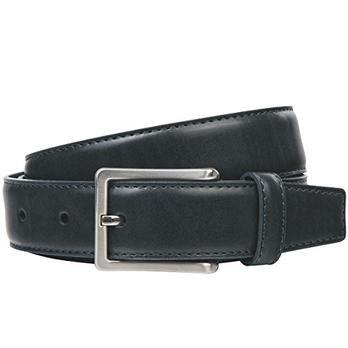 Lindenmann Mens leather belt/Mens belt, leather belt XL curved, black