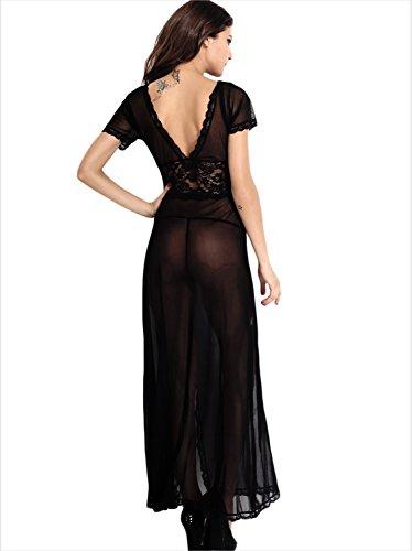 AMORETU Damen Sexy V-plunge Kurze Ärmel Lacy Lange Maxi Kleid Stil B: Schwarz 03
