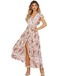 57cd66379e6 Femmes Sexy Cou V Robes Bohème Wrap Floral Imprimé Style Ethnique Vintage  Haute Maxi ...