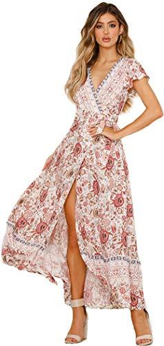 Femmes Sexy Cou V Robes Bohème Wrap Floral Imprimé Style Ethnique Vintage Haute Maxi Robe Vintage Beige L