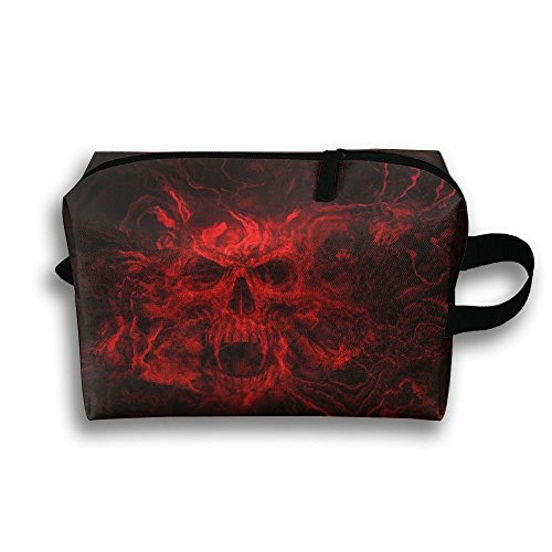 Travel Toiletries Bag Red Flame Skull Phone Coin Cosmetic Pouch Tote Multifunction Organizer Storage Bag - Kelly Stil Tote