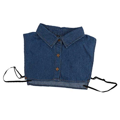 MagiDeal Frauen Kragen Abnehmbare Hälfte Shirt Bluse Weiß/Schwarz/Denim/Chiffon - Denim, Halbes Hemd