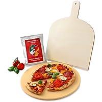 Vesuvo Pack de piedra para horno y barbacoa V38001 / para cocinar pizzas y pan / 38 cm/con pala y harina para pizzas
