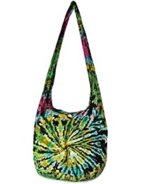 "TIE DYE Bohemian Hipster Hobo Boho Hippie Crossbody Bag Purse Black Tone 39"" (8005)"