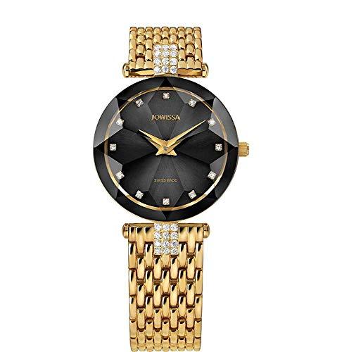 Jowissa Facet Strass Swiss J5.630.M - Reloj de Pulsera para Mujer, Color Negro y Dorado