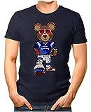 OM3® - New-England-Bear - T-Shirt | Herren | American Football Shirt | Super Bowl 53 LIII | NFL | M, Navy