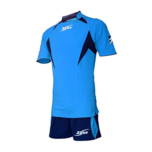 Zeus Herren Volleyball Fußball Set Trikot Hose Shirt Shorts Indoor Handball Training Ausbildung KIT TONY SKY BLAU (XL)