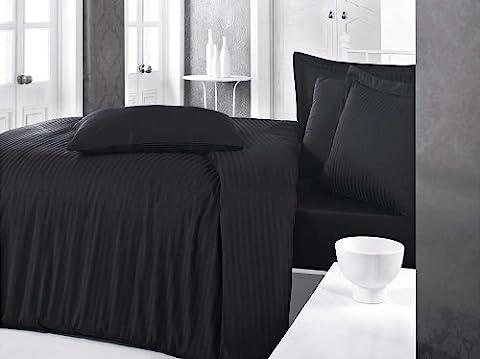 Bettwäsche 240x220 - 80x80 Baumwolle-Satin Black Night (Black Satin Bettwäsche)