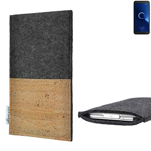 flat.design Handytasche Evora mit Korkfach für Alcatel 1C Single SIM - Schutz Case Etui Filz Made in Germany in hellgrau mit Korkstoff - passgenaue Handy Hülle für Alcatel 1C Single SIM