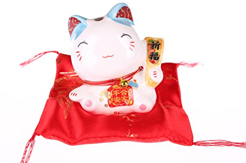 Maneki Neko Figur - kleine japanische Glückskatze mit Kissen - Winkekatze aus Porzellan - Feng Shui Glücksbringer und Spardose (Blau) (Katzen Shui Feng)