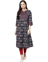 INDO ERA Women's Cotton Anarkali Kurta (Blue)