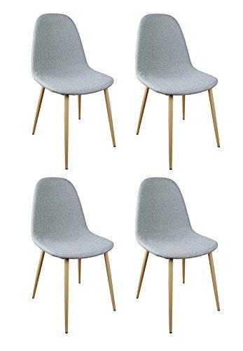 Meubletmoi Lot de 4 chaises Tissu Gris - Design scandinave Vintage - Pieds métal Imitation Bois - Confortable et Robuste - Emma