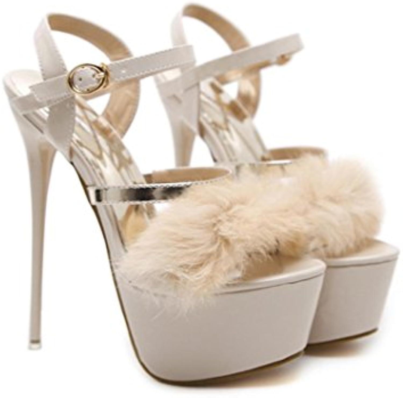 Best 4U® Sandalias para mujer Summer Premium PU de piel sintética Peep toe 7.5CM High Heels 6CM Platform Shoes... -