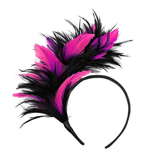 Spook Fest Kostüm - TTWOMEN Frauen Kopfschmuck 20er Jahre Haarband Federhaarband Kostüm Accessoire Damen (Pink-C)