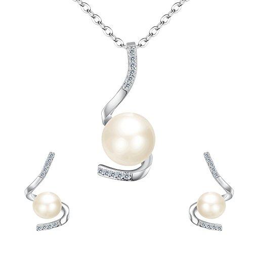 tenye 925Sterling Silber CZ AAA Süßwasser-Zuchtperle einfach Spiral Halskette Ohrringe Set klar (Süßwasser-zuchtperlen Triple Halskette)