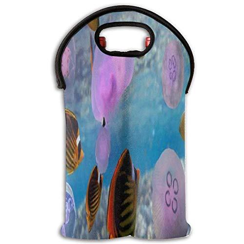 Wine Bag Glow In The Dark Jellyfish Underwater 2 Bottle Red Wine Tote Bag Protective Water Handle Bag Design5