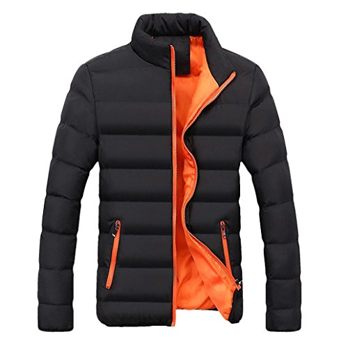 Softshelljacke VENMO Männer Thick Bubble Coat Winter Warm Parka Hardshelljacke Slim Fit Oberbekleidung Freizeitjacke Hip Hop Urban Basic gesteppte Bomberjacke Übergangsjacke steppjacke (XXXL, Orange) (Faux Moto Gesteppte Leder Jacke)