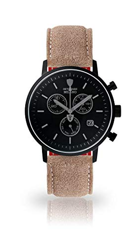 DETOMASO Milano Mens Wristwatch Chronograph Analog Quartz Beige Vintage Leather Strap Black dial DT1052-P-793