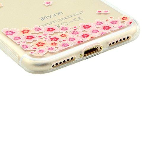 iPhone 8 Hülle, Fraelc iPhone 7 Weich Silikon Rahmen Handyhülle Transparent Schlank Schutzhülle Crystal Clear TPU Bumper Case für Apple iPhone 7 / iPhone 8 mit Blume Muster Design Hart Backcover #2