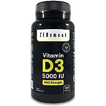 Vitamina D3 5000 UI, 365 Cápsulas, 1 Año de suministro | Sin Gluten,