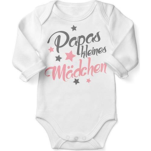 Mikalino Babybody mit Spruch für Mädchen Unisex Langarm Papas kleines Mädchen | handbedruckt in Deutschland | Handmade with Love, Farbe:Weiss, Grösse:56