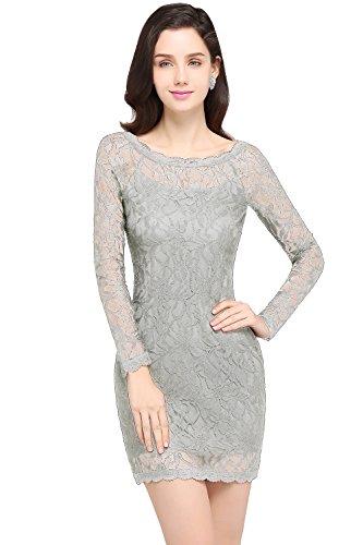 MisShow Damen Kleider Mini Kurz Spitzenkleid Cocktailkleid Abendkleid Partykleider Silber Gr.34