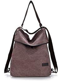 HongyuTing Vintage Canvas Damen Schultertasche Retro Rucksack Multifunktionale Tasche für Arbeit, Schule und Lässige täglich