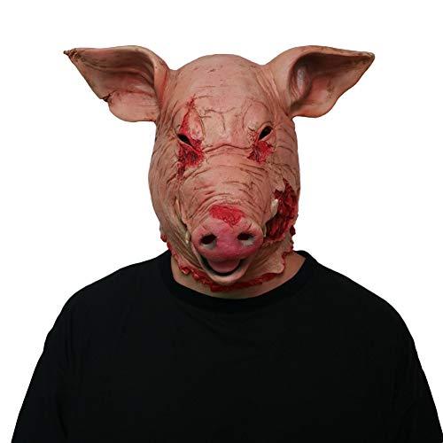 YXXHM- Halloween Horror Schwein Kopf Maske Latex Tier Requisiten Erwachsene Requisiten Clown Maske Kopf Set Party