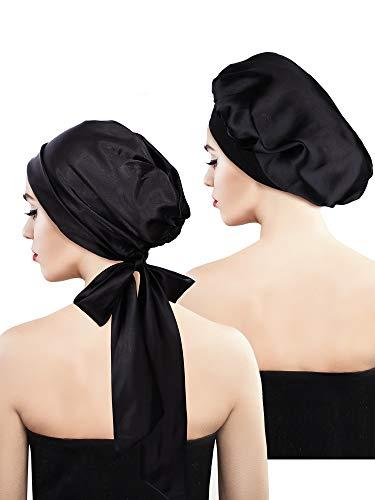 Blulu 2 Stück Weiche Satin Haube Mütze Satin Kopftuch Pre-gebundener Kopf Wickel Schlaf Kopfbedeckung für Damen, 2 Typen (Schwarz mit Schwanz, Schwarz) -