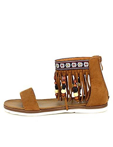 Cendriyon Sandale Franges PAKAONAS C'M Chaussures Femme Marron