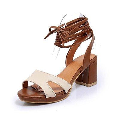 Sandales femmes chaussures printemps été Club Nouveauté Confort supports personnalisés de similicuir Office & plein air décontracté Talon Robe de carrière Beige