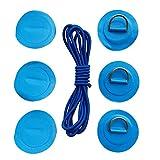 B Baosity 6er Pack Edelstahl D-Ring mit Anti-Rutsch Pads Patches mit Elastische Schnur Stretch Faden für PVC aufblasbar Boot Kajak Sup Paddel - Blau