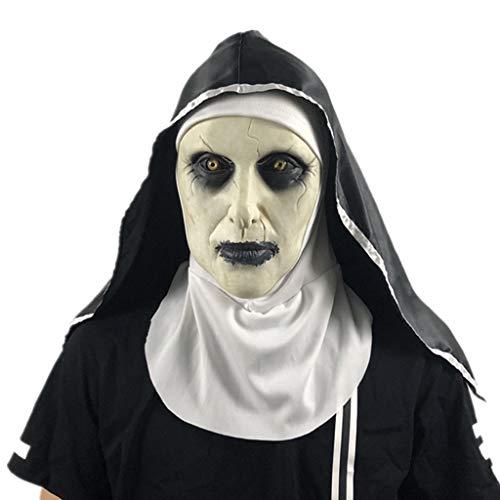LFF.FF Halloween Spiritualismus Nun Maske Terror Unheimlich Schockiert Weibliches Gesicht Trickreich Partyzubehör (Unheimlich Halloween-gesichter Weiblich)