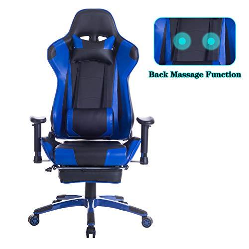 Healgen Großer und hoher Gaming-Stuhl mit Fußstütze, für PC/Computer/Videospiel, PU-Leder, hohe Rückenlehne, Drehgelenk, ergonomischer Bürostuhl mit Kopfstütze, Lendenwirbelstütze blau