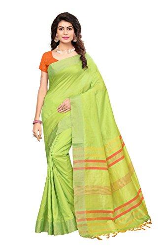 ShivGami Women's Cotton Silk Saree (Parrot Green)