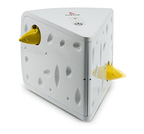 PetSafe FroliCat Katzenspielzeug Cheese, Käse mit 2Mäusen, interaktiv für Spieltrieb und Jagdtrieb, für Katzen